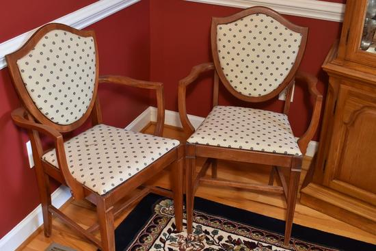 Pair Of Vintage Shield Back Master Dining Chairs