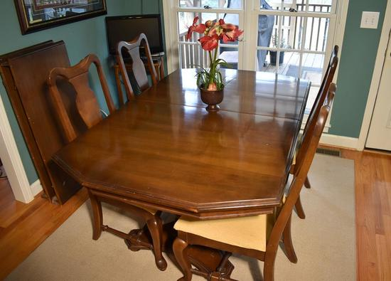 Vintage Double Pedestal Dining Table w/ Two Leaves