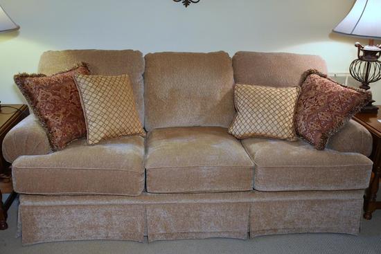 Lane Neutral/ Beige Sofa w/ 4 Pillows