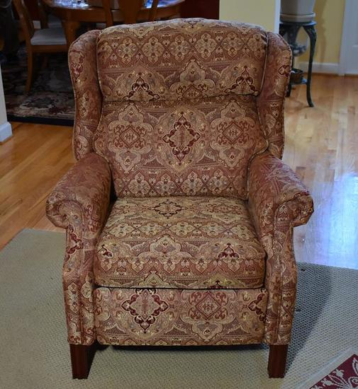 Lane Red/Tan Geometric Floral Upholstered Recliner (Matches Lot 6)
