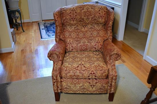 Lane Red/Tan Geometric Floral Upholstered Recliner (Matches Lot 5)
