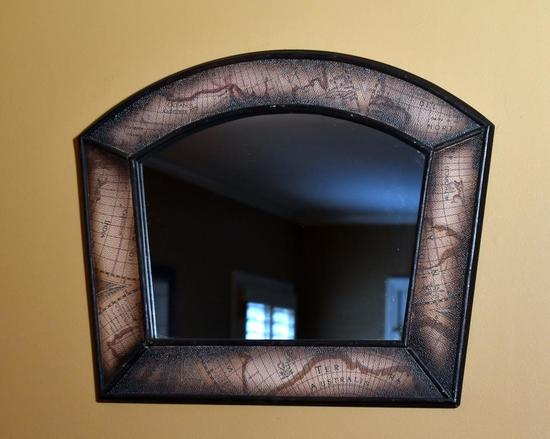 World Map Style Framed Wall Mirror