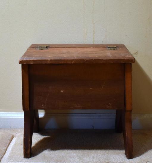 Arts & Crafts Style Pine Stool w/ Hinged Top & Storage