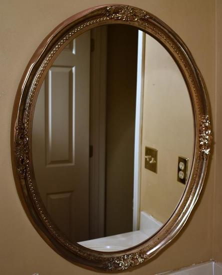 Gilt Silver Wood Frame Oval Mirror