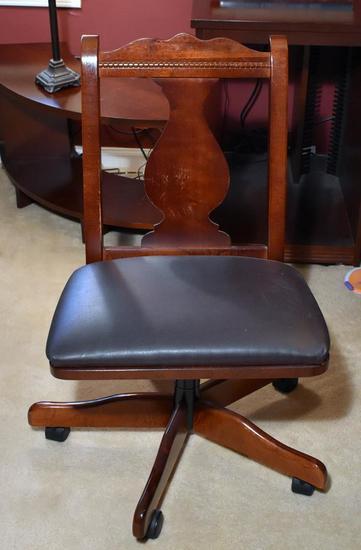 Rolling Cherry Desk / Swivel Chair