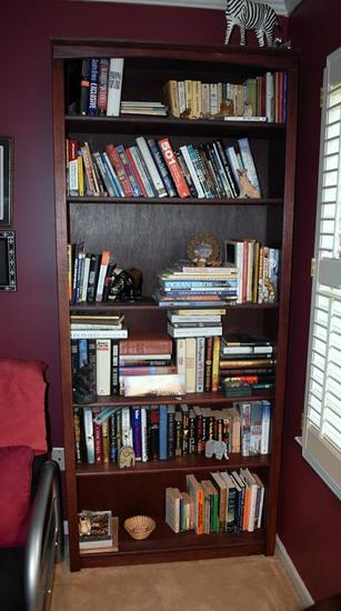 Wooden Six-Shelf Bookshelf, Lots 22-23 Match