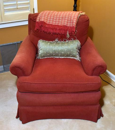 Townhouse By Pennsylvania House Solid Red Plush Upholstered Armchair, Pillow, Throw