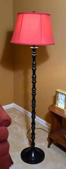 Black Metal Floor Lamp with Red Shade