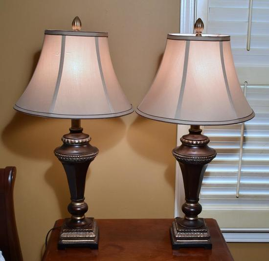 Pair of Gilt Bronze Color Contemporary Table Lamps