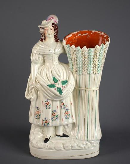 """Antique (C. 1840) Staffordshire Pearlware Flatback 14"""" Figural Vase, """"Peasant Girl With Wheat Sheaf"""""""