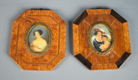Pair of Elegant Antique Hand Painted Miniatures with Octagonal Inlaid Wood Frames