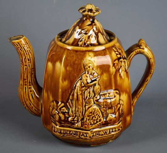 "Rockingham Glaze Teapot, ""Rebekah at the Well,"" Possibly Bennington"