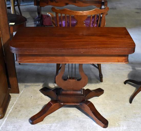 Antique Mahogany Game Table, Lyre Form Pedestal Base