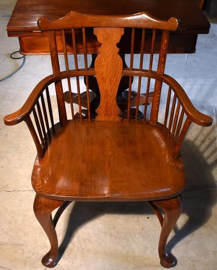 Vintage Oak Windsor Arm Chair, Probably English
