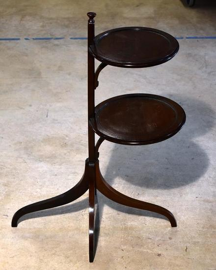 Unique Mahogany Tiered Stand with Spider Legs