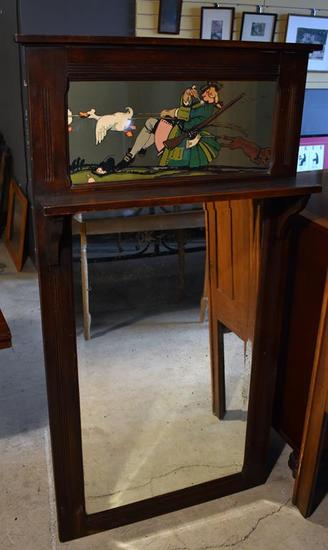 Antique Craftsman Oak Wall Mirror with Comical/Fable Themed Print Above Shelf