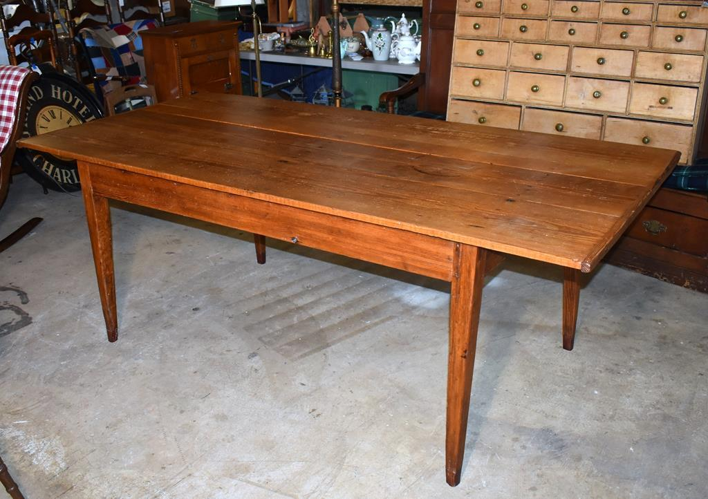 Antique 19th C. Southern Heart Pine Farm Table from Estate in Dacusville, SC