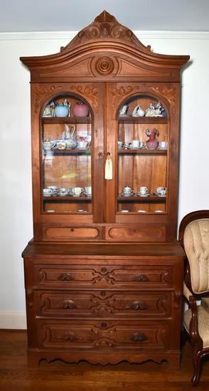 Exceptional Antique Victorian 19 C. Walnut Slant Top Secretary with Hutch