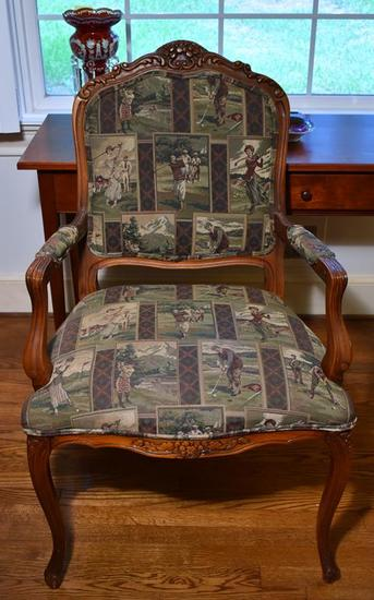Golf Themed Upholstery Vintage Carved Mahogany Arm Chair