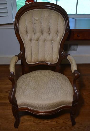 Antique Victorian Parlor Mahogany Arm Chair