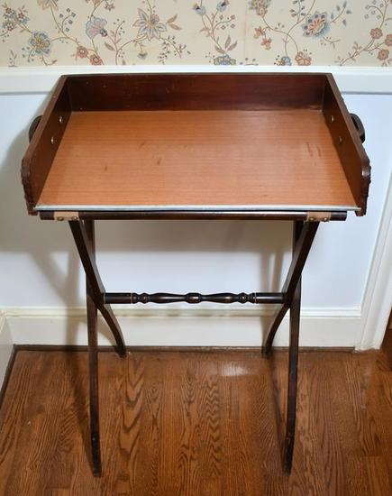 Vintage Campaign Style Butler Tray Table or Bar w/ Leather & Nailhead Trim