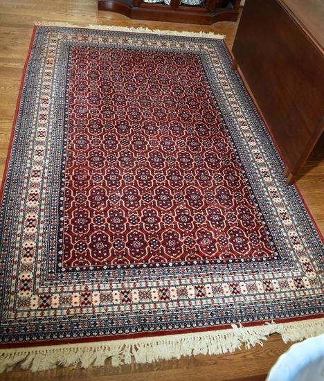 Red, Ivory & Blue Oriental Style ~ 5 x 8 Rug