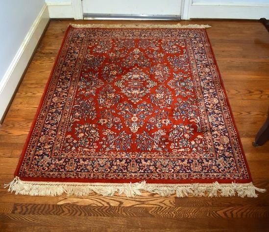 Karastan Red, Ivory & Blue Oriental Style Sarouk Wool ~ 4 x 6 Rug