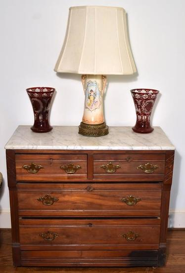 Lovely Antique Victorian Walnut Dresser with Marble Top