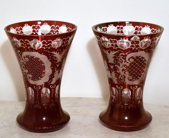 """Pair of Antique Bohemian Ruby Red 10"""" Cut Glass Vases"""