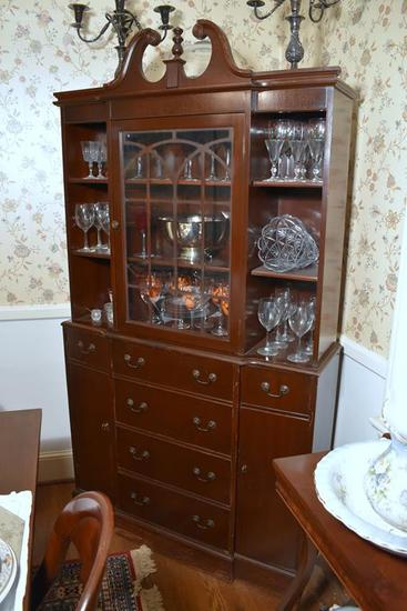 Vintage Federal Style Mahogany China Cabinet w/ Mullioned Glass Doors & Drop Front Butler's Drawer