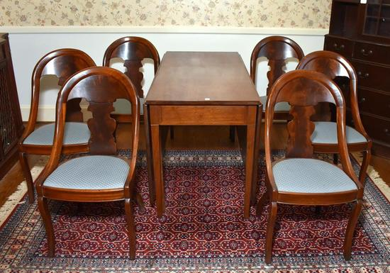 Set of 6 Vintage Federal Style Flame Mahogany Dining Chairs w/ Solid Back Splat