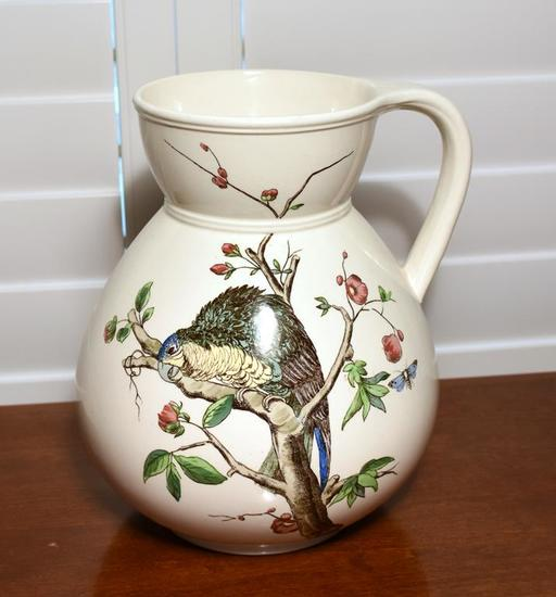 Antique 19th C. (1842-1883) British Registered Design Porcelain Pitcher, Hand Painted Bird Design