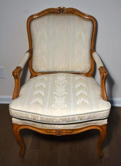 Vintage Upholstered Cherry Arm Chair w/ Carved Floral Accents
