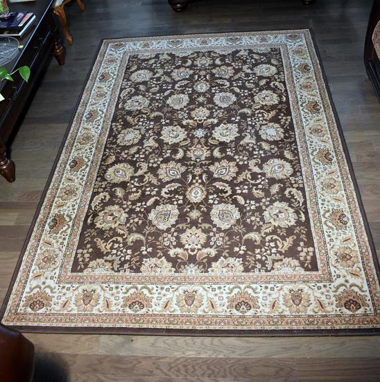 "Contemporary Brown/Beige Floral Pattern Oriental Style Rug, 5'3"" x 7'7"""