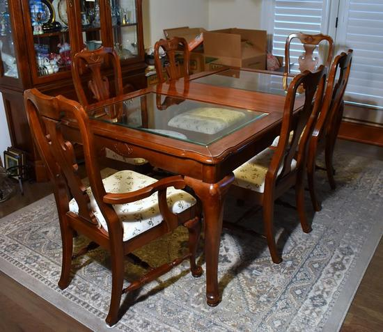 Keller Cherry Dining Table w/ Beveled Glass Top, Leaf Insert & Protective Pads (Lots 18 -21 Match)