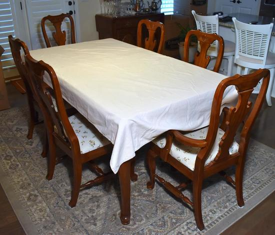 Set 6 Keller Cherry Dining Chairs, Slip Seats, Solid Back Splat, 2 Master, 4 Side (Lots 18 -21 Match