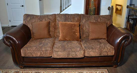 Contemporary Bonded Leather & Tapestry Sofa w/ Wood Accents, 3 Pillows (Lots 2-6 Are a Suite),