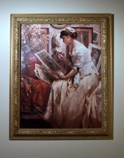 Framed Decorator Canvas Art Print, Woman Examining Art, Antiqued Gold Frame
