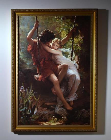 Large Framed Decorator Canvas Art Print, Shepherd Boy & Nymph on Swing