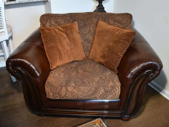 Bonded Leather & Tapestry Oversized Arm Chair w/ Wood Accents, 2 Pillows (Lots 2-6 Are a Suite)