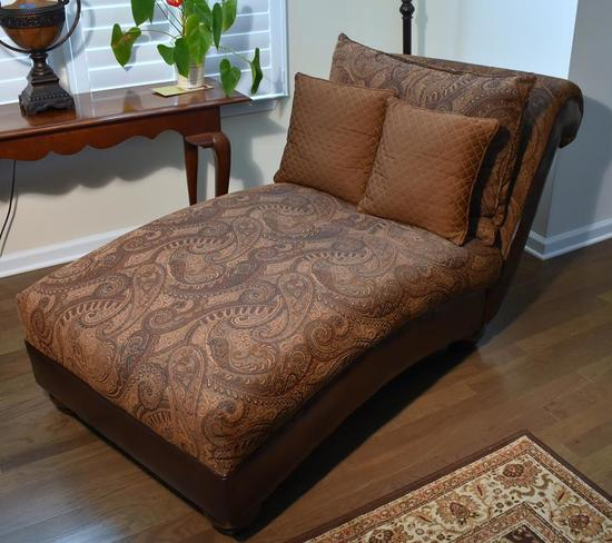 Tapestry & Bonded Leather Chaise Lounge, 2 Pillows (Lots 2-6 Are a Suite)