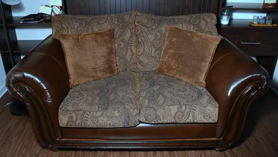 Bonded Leather & Tapestry Love Seat w/ Wood Accents, 2 Pillows (Lots 2-6 Are a Suite)