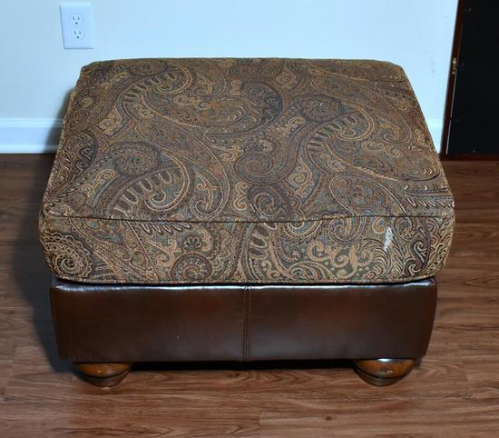 Tapestry & Bonded Leather Ottoman (Lots 2-6 Are a Suite)