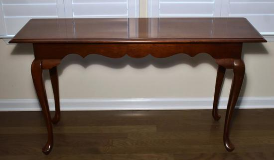 Vintage Queen Anne Style Cherry Console Table