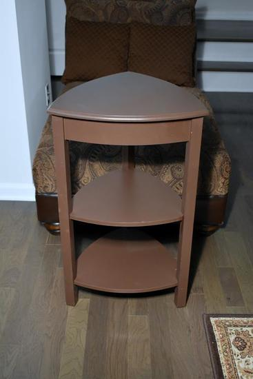 Contemporary Rounded Triangular Corner Table w/ Two Shelves