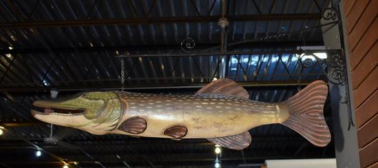 Large Muskie Fish Decorative Metal Art with Metal Bracket