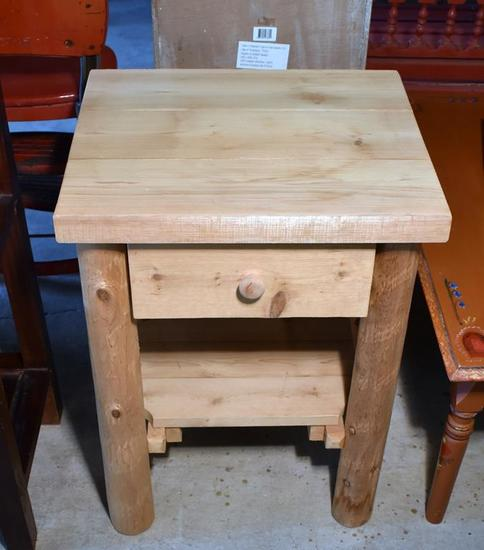 Rustic Style Natural Pine End Table or Night Stand, One Drawer, Bottom Shelf