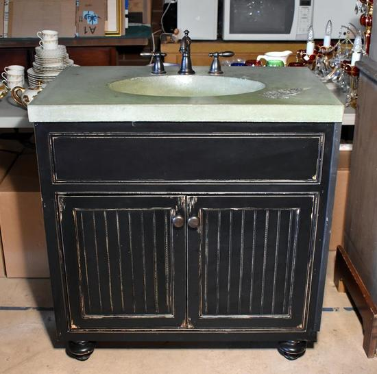 Rustic Style Sink & Bead Board Cabinet, Green Concrete Top, Fern Imprint, Delta Oil Rubbed Bronze Fi