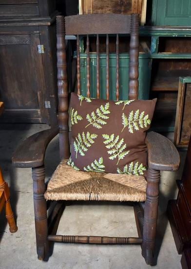 Vintage Rush Seat Oak Rocker / Rocking Chair, Fern Pillow