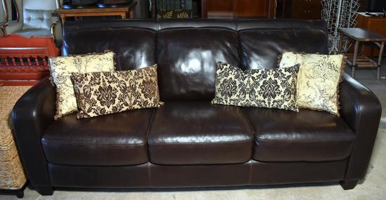 Contemporary Dark Coffee Brown Leather Sofa, 4 Coordinating Down-Filled Pillows